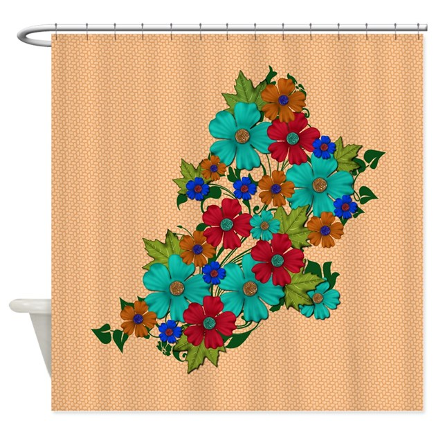 Flower Bunch On Peach Shower Curtain By PillowParty2