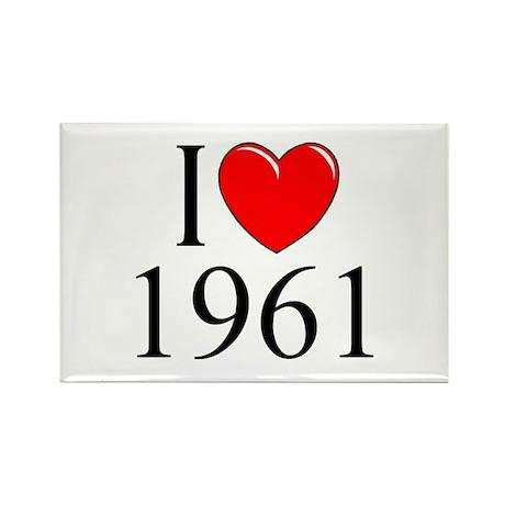 """I Love 1961"" Rectangle Magnet"