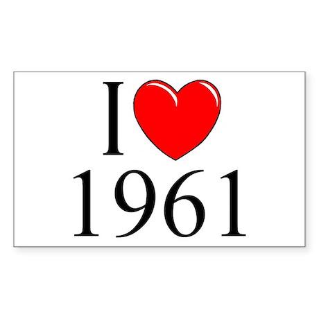 """I Love 1961"" Rectangle Sticker"