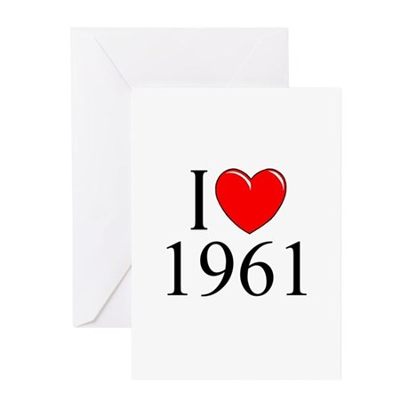 """I Love 1961"" Greeting Cards (Pk of 10)"