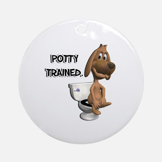 Potty Trained Puppy Dog Ornament (Round)