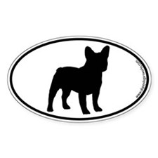 French Bulldog SILHOUETTE Oval Decal