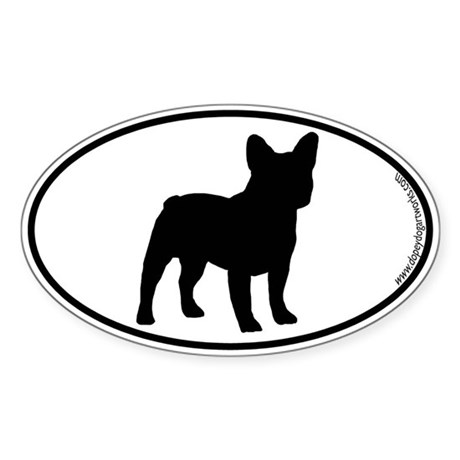 French Bulldog SILHOUETTE Oval Sticker