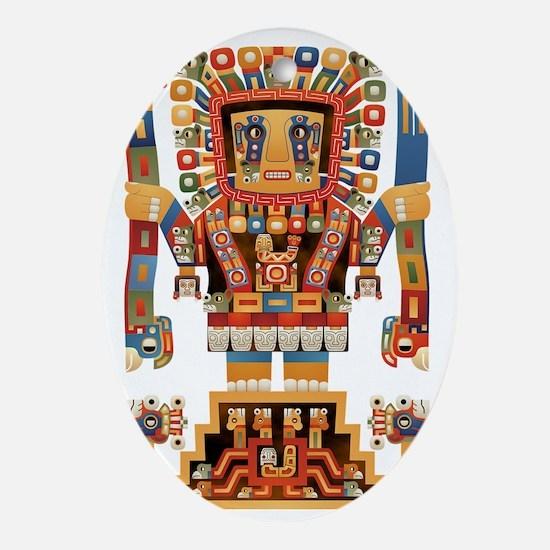 Viracocha Creator God of Tiwanaku Oval Ornament