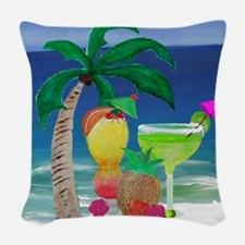 Tropical Drinks on the beach Woven Throw Pillow