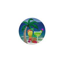 Tropical Drinks on the beach Mini Button
