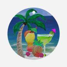 Tropical Drinks on the beach Round Ornament