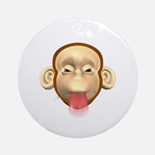 Monkey Sticking Out Tongue Ornament (Round)
