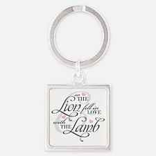 Lion  Lamb Square Keychain
