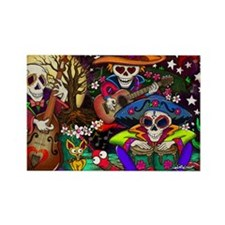Day of the Dead Music art by Juli Rectangle Magnet