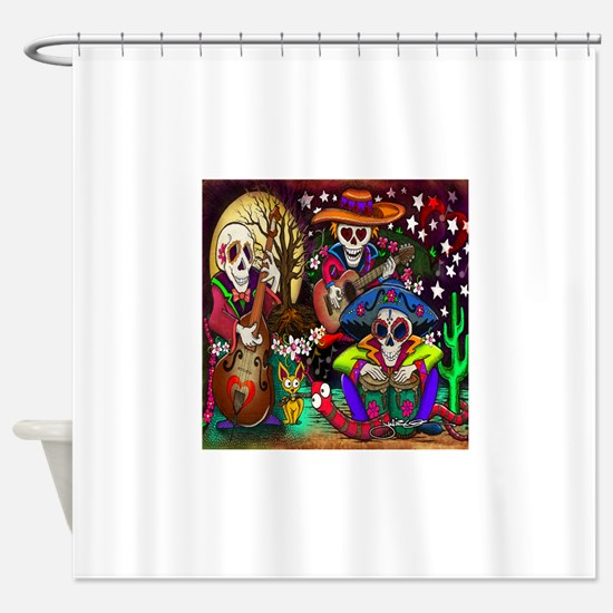 Day of the Dead Music art by Julie  Shower Curtain