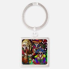 Day of the Dead Music art by Julie Square Keychain