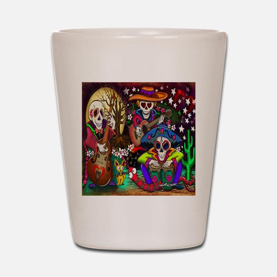 Day of the Dead Music art by Julie Oake Shot Glass