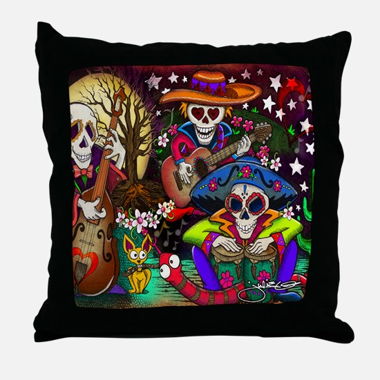 Day of the Dead Music art by Julie Oa Throw Pillow