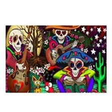 Day of the Dead Music art Postcards (Package of 8)