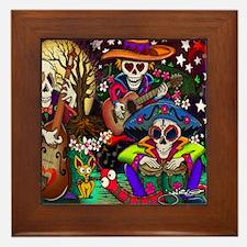 Day of the Dead Music art by Julie Oak Framed Tile