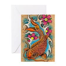 Koi Fish Art by Julie Oakes Greeting Card