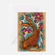 Koi Fish Art by Julie Oakes Greeting Card