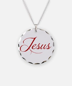 The Name of Jesus dark Necklace Circle Charm