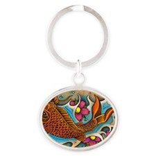 Koi Fish Art by Julie Oakes Oval Keychain