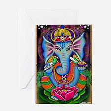 Ganesha Art by Julie Oakes Greeting Card