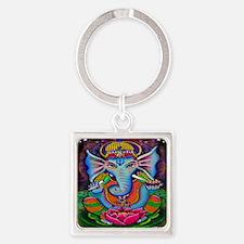 Ganesha Art by Julie Oakes Square Keychain