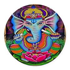 Ganesha Art by Julie Oakes Round Car Magnet