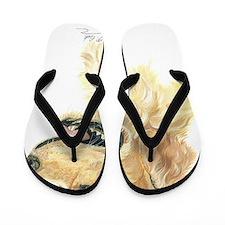 Golden Retriever artwork by Paula Cook Flip Flops