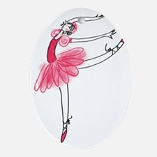 Pink Ballerina Oval Ornament