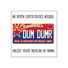 """Arizona License Plate Square Sticker 3"""" x 3"""""""