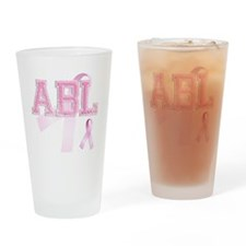 ABL initials, Pink Ribbon, Drinking Glass