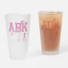 ABK initials, Pink Ribbon, Drinking Glass