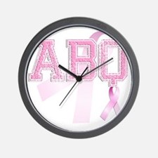 ABQ initials, Pink Ribbon, Wall Clock