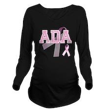 ADA initials, Pink R Long Sleeve Maternity T-Shirt