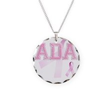 ADA initials, Pink Ribbon, Necklace