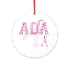 ADA initials, Pink Ribbon, Round Ornament
