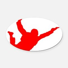 Silhouette 2 red Oval Car Magnet