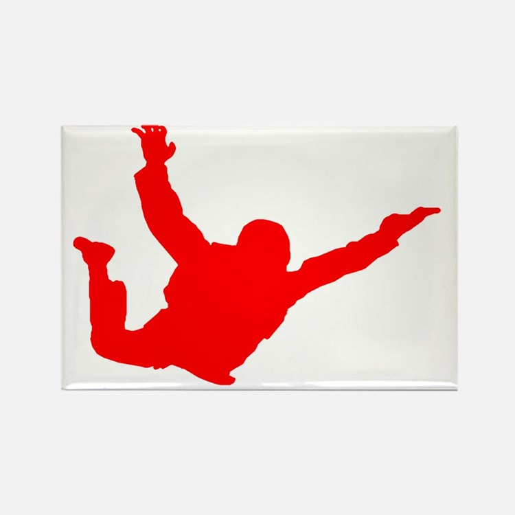 Silhouette 2 red Rectangle Magnet