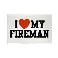 I Love My Fireman Rectangle Magnet