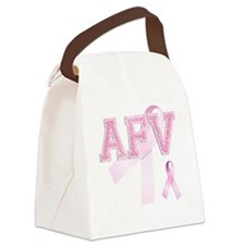 AFV initials, Pink Ribbon, Canvas Lunch Bag