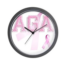 AGA initials, Pink Ribbon, Wall Clock