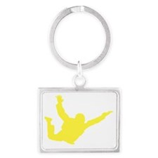 Freefall Sihouette 2 yellow Landscape Keychain