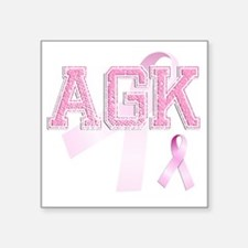 "AGK initials, Pink Ribbon, Square Sticker 3"" x 3"""