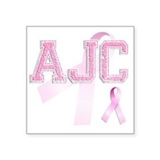 "AJC initials, Pink Ribbon, Square Sticker 3"" x 3"""