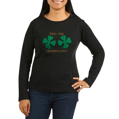 KISS MY SHAMROCKS Women's Long Sleeve Dark T-Shirt