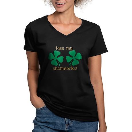 KISS MY SHAMROCKS Women's V-Neck Dark T-Shirt