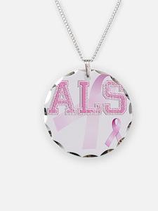 ALS initials, Pink Ribbon, Necklace