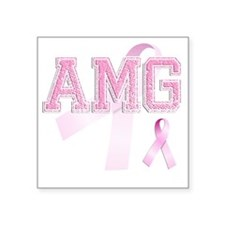 "AMG initials, Pink Ribbon, Square Sticker 3"" x 3"""
