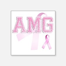 "AMG initials, Pink Ribbon, Square Sticker 3"" x 3"""