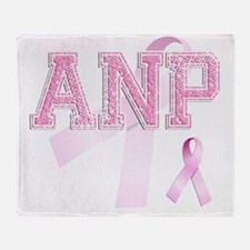 ANP initials, Pink Ribbon, Throw Blanket